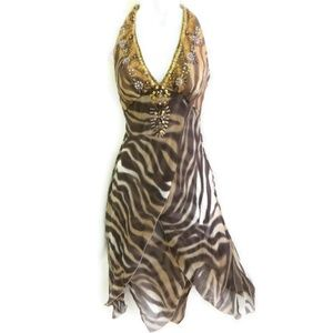 Citrine Canada Halter Dress Silk Beads Animal 4